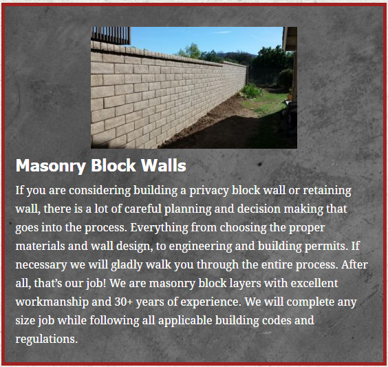 Santa Paula masonry brick retention wall